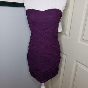 New! As U Wish Purple Strapless Dress Size Medium.